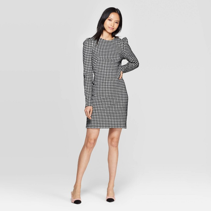 Women's Plaid Puff Shoulder Long Sleeve Boat Neck A Line Mini Dress - Who What Wear™ Black/White - image 1 of 3