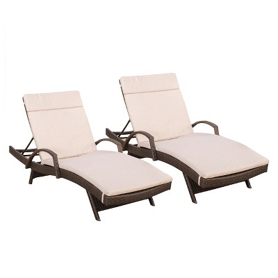 c0164ccc1d5 Haage Set of 2 Outdoor Wicker Armed Chaise Lounge with Cushion - Brown - Christopher  Knight