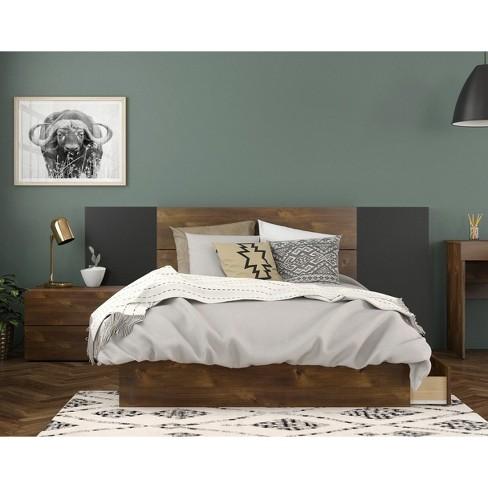 Full 4pc Rubicon Platform Bed Set Truffle/Black - Nexera