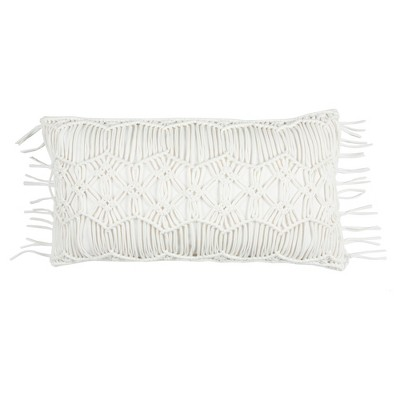 Ivory Floral Cotton Throw Pillow (14 x26 )- Rizzy Home
