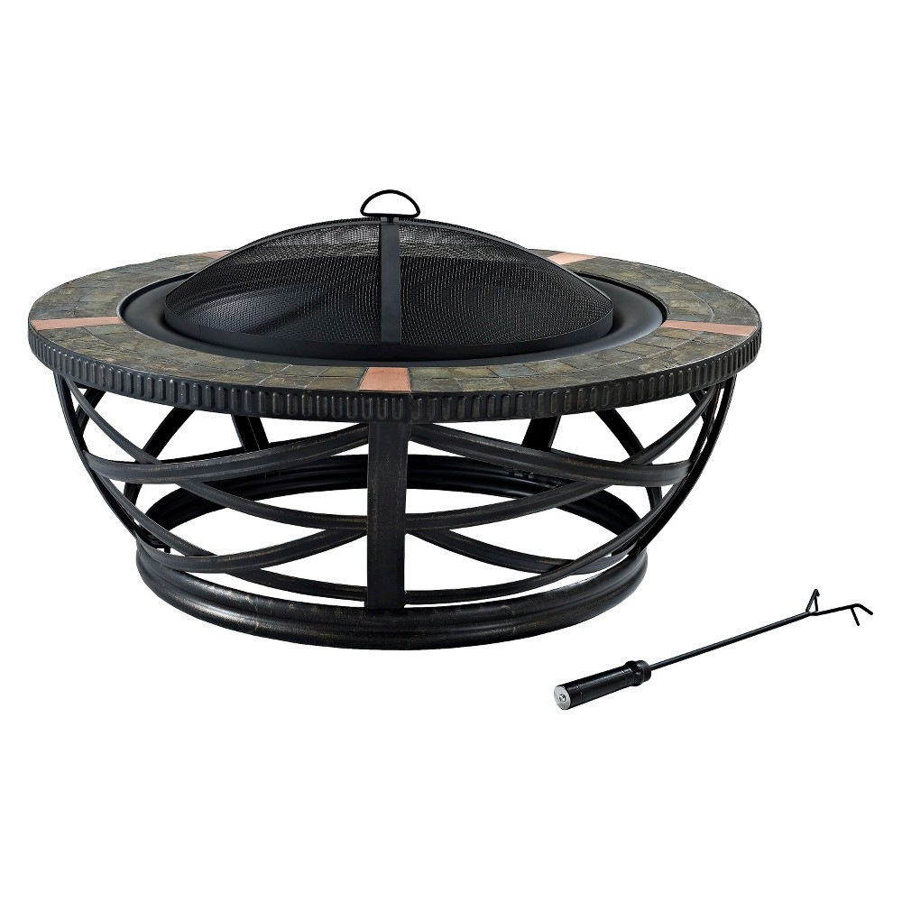 Image of Crosley Glendale Round Slate Firepit, Black