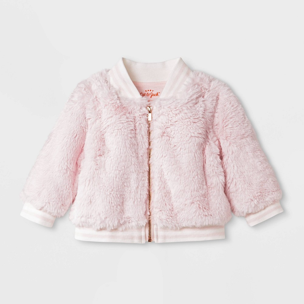 Image of Baby Girls' Faux Fur Jacket - Cat & Jack Pink Newborn, Girl's