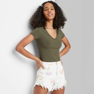Women's Short Sleeve V-Neck Slim Fit T-Shirt - Wild Fable™