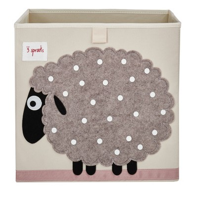 3 Sprouts Kids Childrens Collapsible Felt 13x13x13 Inch Storage Cube Bin Box for Cubby Shelves, Gray Sheep with Polka Dots