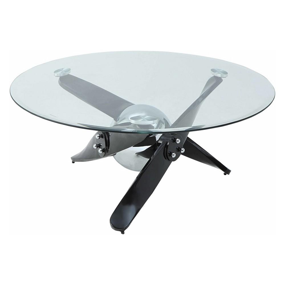 Acme Furniture Hagelin Coffee Table Clear Glass Black/Chrome