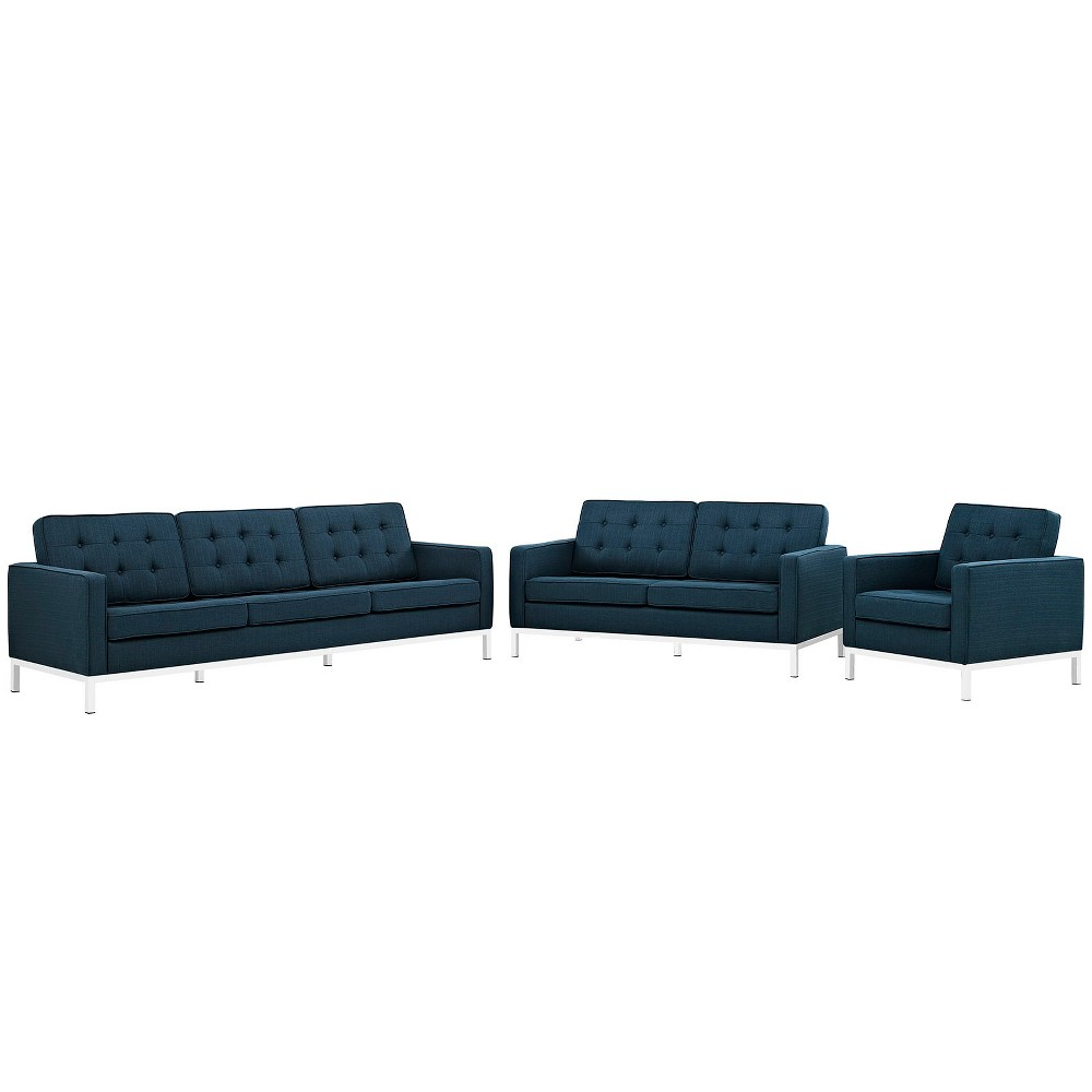 Set of 3 Sofa, Love Seat, Accent Chair Loft Living Room Set Upholstered Fabric Azure (Blue) - Modway