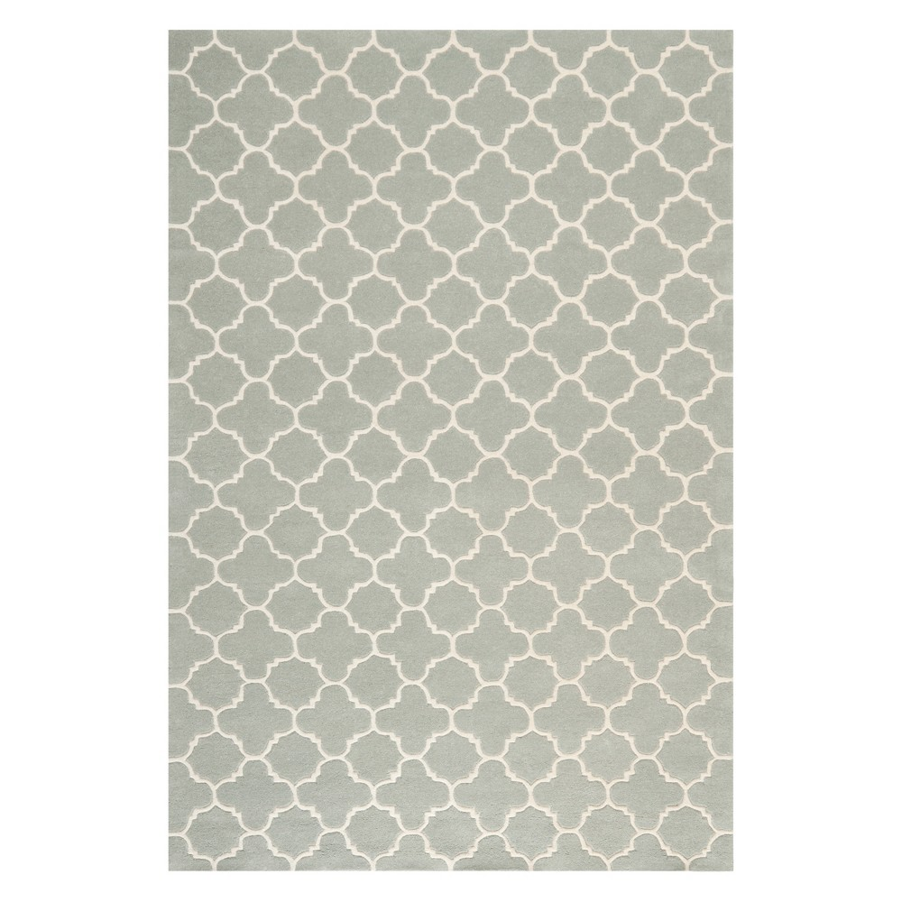6'X9' Quatrefoil Design Tufted Area Rug Gray/Ivory - Safavieh