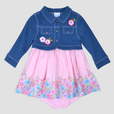 Baby Girls' Print Swiss Dot Dress with Denim Jacket Nate & Annee™ Pink 6-9M