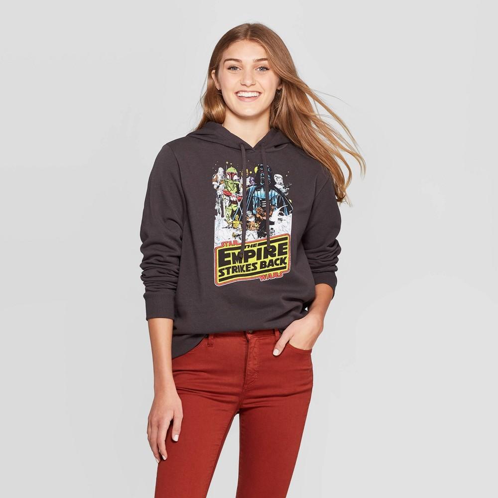 Image of Women's Star Wars: Empire Strikes Back Star Wars Hooded Sweater (Juniors') - Black L, Women's, Size: Large