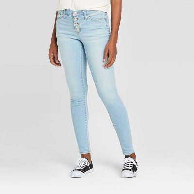 Women's High-Rise Button-Fly Skinny Ankle Jeans - Universal Thread™ Light Wash