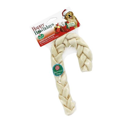 Pet Factory Happy Holiday Braided Peppermint Cane Rawhide Dog Treats