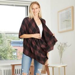 Women's Plaid 3/4 Sleeve Open Layering Kimono Jacket - Knox Rose™ Brown
