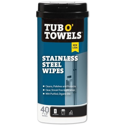 Tub O' Towels Stainless Steel Cleaning Wipes - 40ct