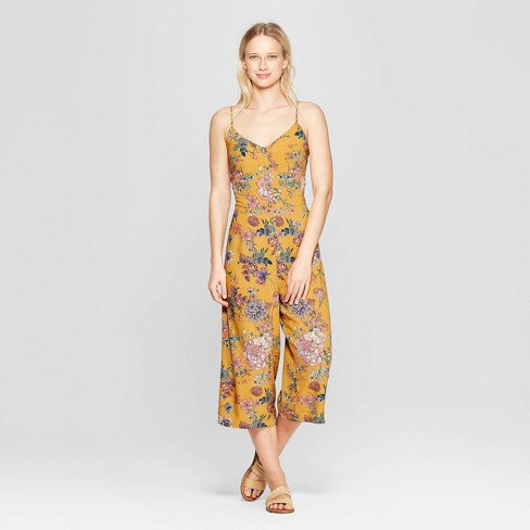 Women's Floral Print V-Neck Strappy Button Front Cropped Jumpsuit - Xhilaration™ Golden - image 1 of 3