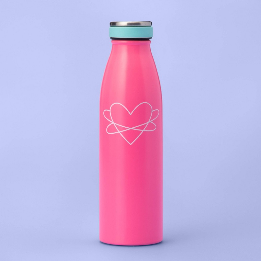 Image of 16.9oz Metal Water Bottle with Heart - More Than Magic - Pink