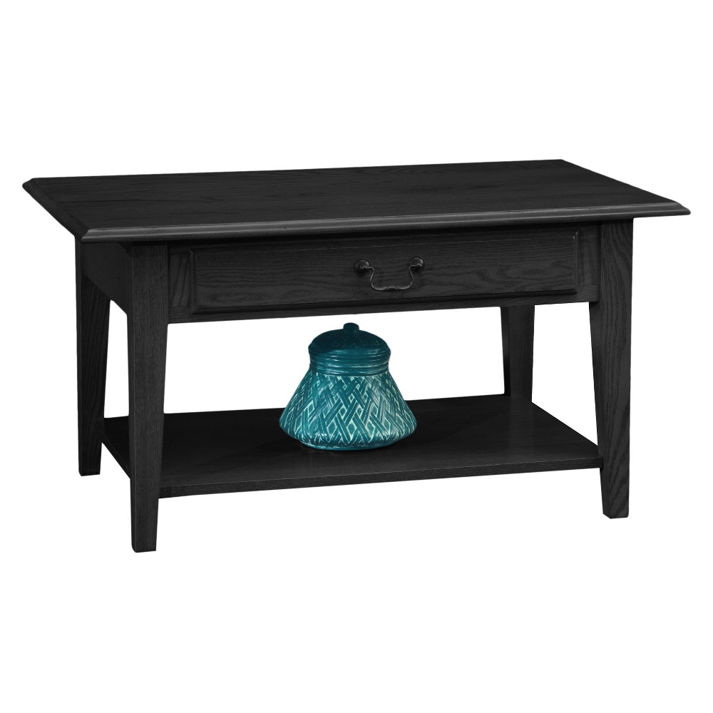 Shaker Solid Oak Drawer Coffee Table - Slate (Grey) - Leick Home