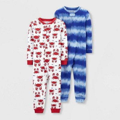 Baby Boys' 2pk Footless Tie-Dye Crab Pajama Jumpsuit - Just One You® made by carter's Red/Blue