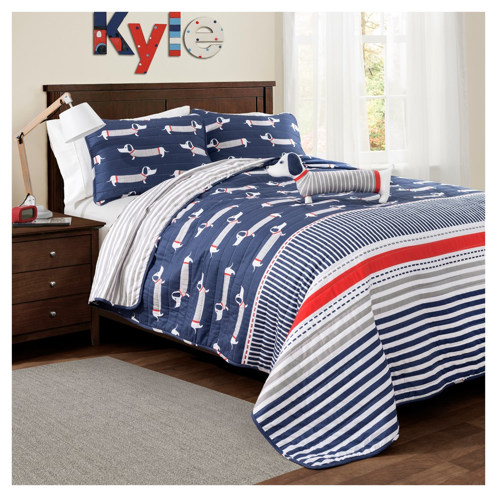 Navy Sausage Dog Quilt Set (Twin) 3pc - Lush Decor, Blue