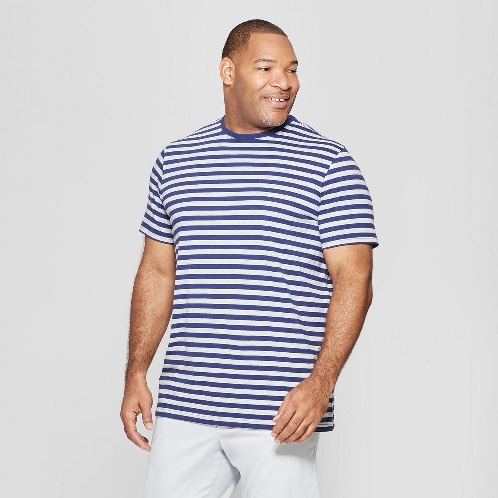 Men's Big & Tall Striped Standard Fit Short Sleeve Novelty Crew T-Shirt - Goodfellow & Co Inky Blue 2XBT