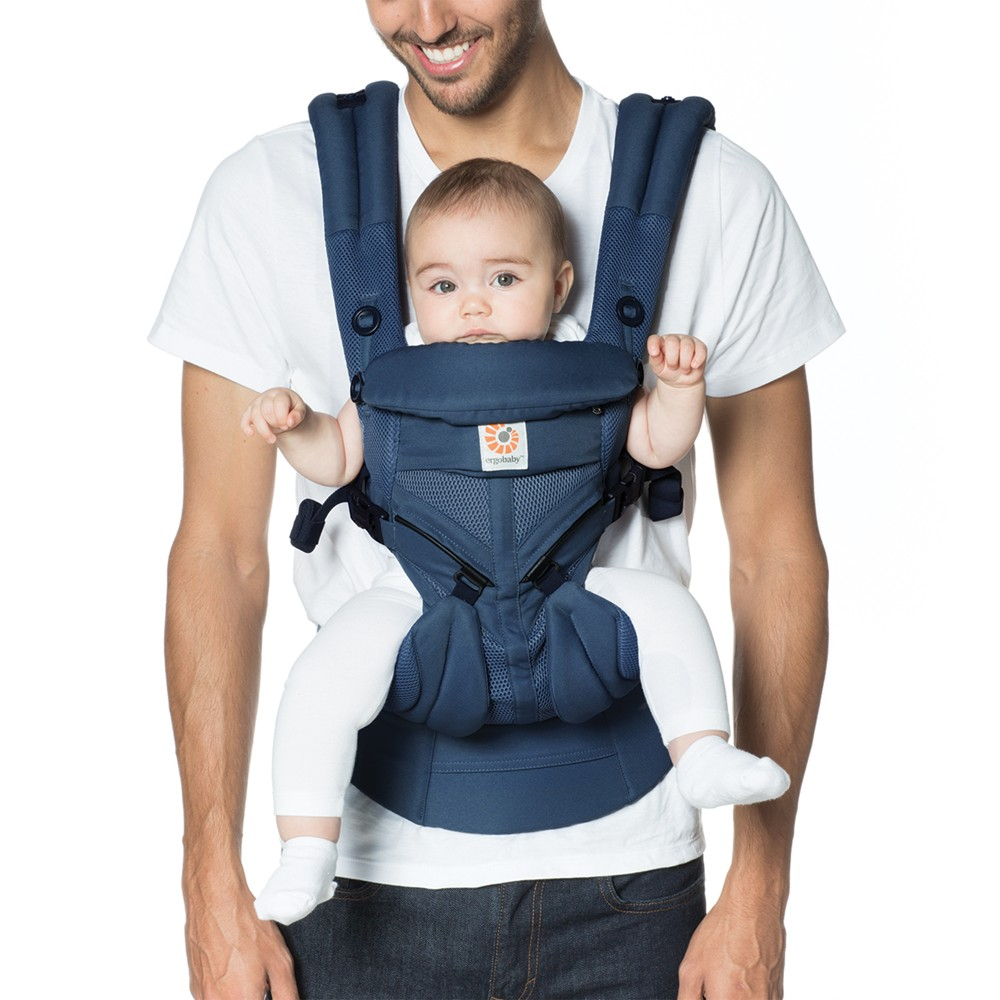 Image of Ergobaby Omni 360 Cool Air Mesh All Carry Positions Baby Carrier - Midnight Blue, Black Blue