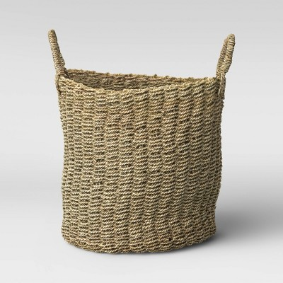 "20"" x 15.7"" Round Mendong Basket with Handle Natural - Threshold™"