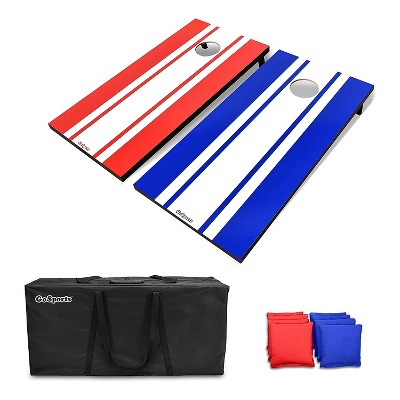 GoSports Regulation Size Outdoor Game Wood Cornhole Set with 2 4 Foot x 2 Foot Boards, 8 Bean Bags, Carrying Case, and Game Rules, Classic Edition
