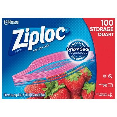 Ziploc Grip N Seal Super Mega Pack Storage Quart - 100ct