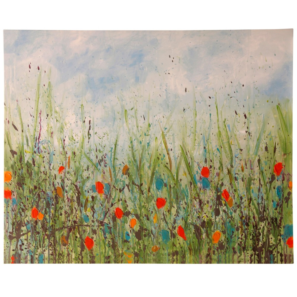 50 Poppy View Stretched Canvas Decorative Wall Art - StyleCraft, Multi-Colored