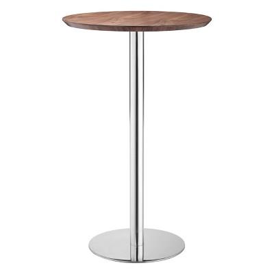 "41"" Elegant Chromed Steel Round Bar Table Walnut - ZM Home"