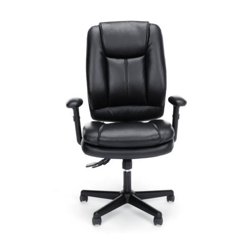 Magnificent Essentials Collection Ergonomic High Back Bonded Leather Executive Chair Black Ofm Machost Co Dining Chair Design Ideas Machostcouk