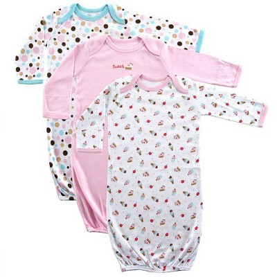 Luvable Friends Baby Girl Cotton Long-Sleeve Gowns 3pk, Pink, 0-6 Months