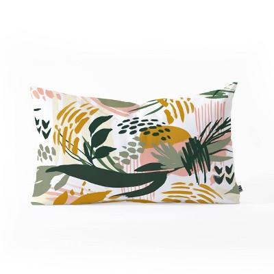 Marta Barragan Camarasa Art Nature Brushstrokes Oblong Lumbar Throw Pillow Green - Deny Designs