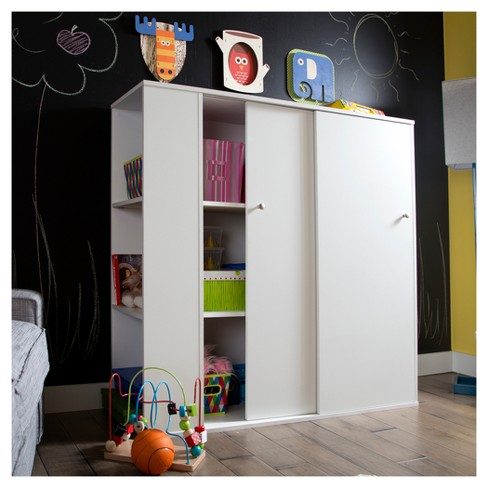 Crea Kids Storage Cabinet With Sliding Doors Pure White South S Target