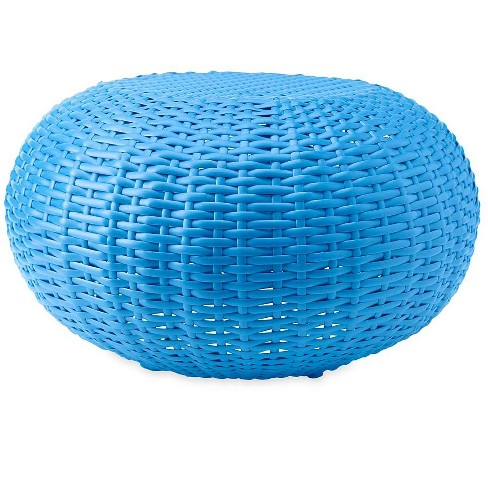 Small Tangier All Weather Wicker Ottoman Footrest Pouf