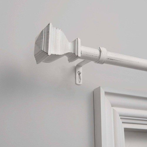 """66""""x120"""" Napoleon 1"""" Adjustable Curtain Rod and Coordinating Finial Set White - Exclusive Home"""