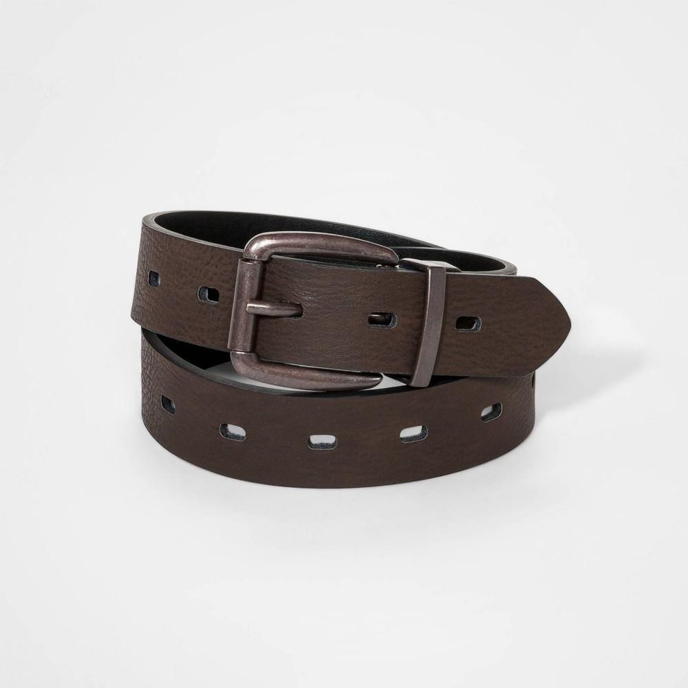 Image of Boys' Laser Cut Belt - Cat & Jack Brown L, Boy's, Size: Large, MultiColored
