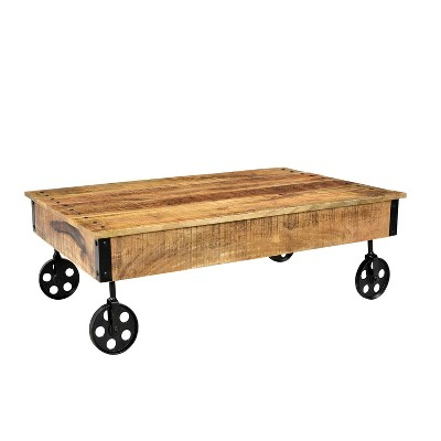Eclaimed Wood Coffee Table With Wheels Natural - Timbergirl