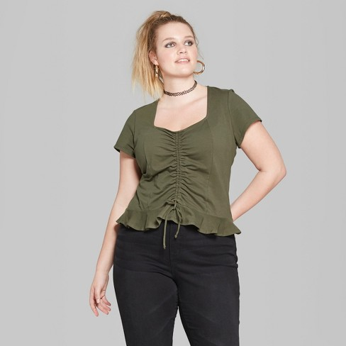 755b1d5d75f48 Women s Plus Size Short Sleeve Cinch Front Peplum Blouse - Wild Fable™  Olive 3X   Target