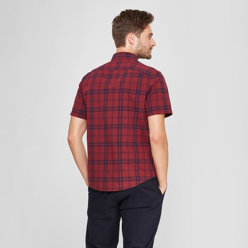 Men s Short Sleeve Soft Wash Slim Fit Button-Down Shirt - Goodfellow   Co™  Berry Cobbler 0ca6a750e