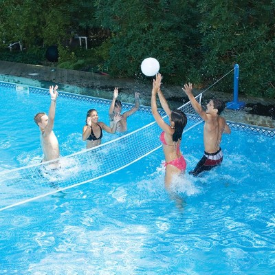 Swimline 20' Volleyball Weighted Net Support Swimming Pool Game - White/Blue