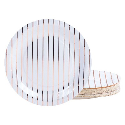 Juvale 48-Piece Rose Gold Striped Disposable Paper Plates 9 Inches Round Party Supplies