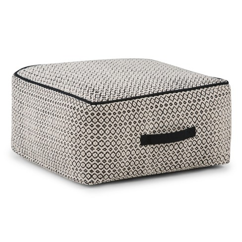 Malene Square Pouf Patterned Black/Natural Cotton - Wyndenhall - image 1 of 5