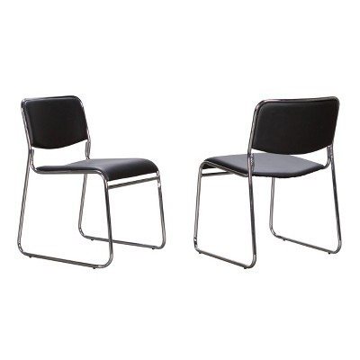 Set of 2 Grover Metal Stacking Side Chairs Black - Linon