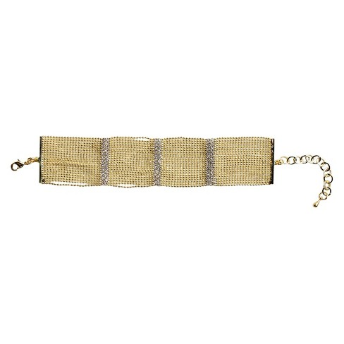 Multi-Pave Fine Crystal Bars with Multi-Link Strands Wide Bracelet and Lobster Clasp - Gold - image 1 of 1