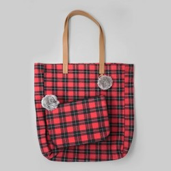 2pk Flannel Tote Bag & Zipper Pouch Red/Black Plaid - Bullseye's Playground™