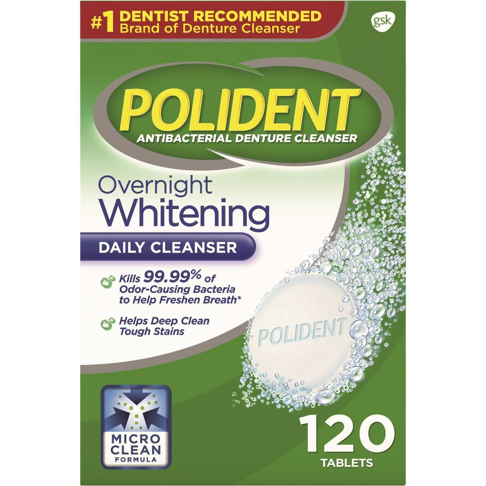 Image of Polident Denture Cleaner Overnight Tablets - 120ct