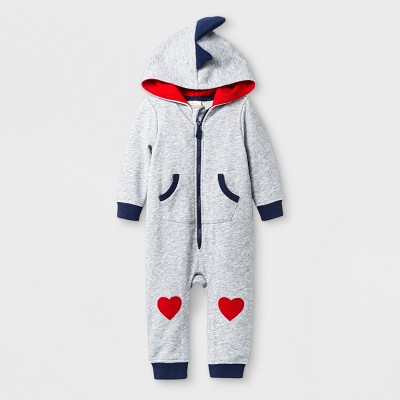 Baby Boys' Hooded Long Sleeve Romper with Kangaroo Pocket - Cat & Jack™ Gray <br>0-3M