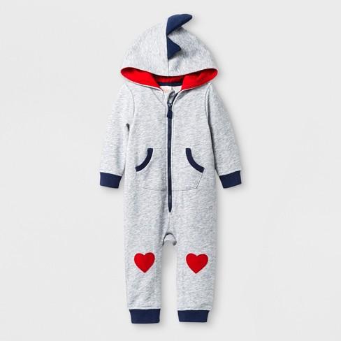 dea161b6821 Baby Boys  Hooded Long Sleeve Romper with Kangaroo Pocket - Cat   Jack™ Gray