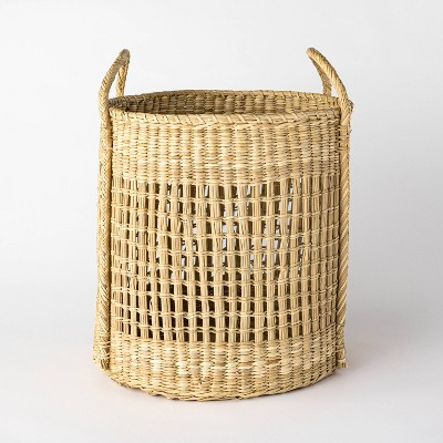 """Open Weave Round Basket with Handle 18.9"""" x 15.7"""" Natural - Threshold™ designed with Studio McGee"""