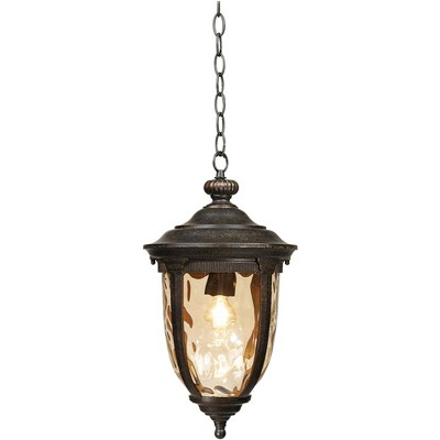 """John Timberland Rustic Outdoor Ceiling Light Bronze 18"""" Hammered Glass for Exterior Entryway Proch"""